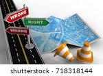 3d illustration of city map... | Shutterstock . vector #718318144