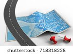 3d illustration of city map... | Shutterstock . vector #718318228