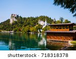 view of bled castle by the lake ... | Shutterstock . vector #718318378