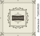 frame template. vintage... | Shutterstock . vector #718319020