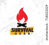survival gear outdoor adventure ... | Shutterstock .eps vector #718322029