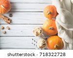 pumpkins spice latte with... | Shutterstock . vector #718322728
