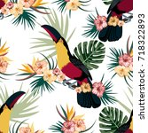 tropical seamless pattern with... | Shutterstock .eps vector #718322893