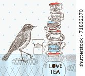 tea background with teacups and ...