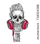 skull with a hairstyle  beard ... | Shutterstock .eps vector #718324288