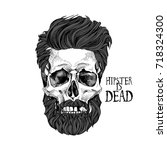 skull with a hairstyle  beard ... | Shutterstock .eps vector #718324300