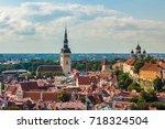 aerial view of tallinn old town ... | Shutterstock . vector #718324504