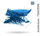 blue brush stroke and texture.... | Shutterstock .eps vector #718325098