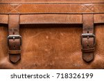retro old genuine leather... | Shutterstock . vector #718326199