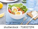 healthy salad with avocado ... | Shutterstock . vector #718327294
