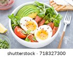 healthy salad with avocado ... | Shutterstock . vector #718327300