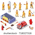 fire department isolated... | Shutterstock .eps vector #718327318