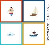 flat icon vessel set of boat ... | Shutterstock .eps vector #718327738