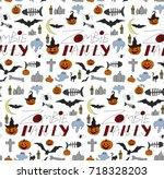 halloween seamless pattern... | Shutterstock .eps vector #718328203