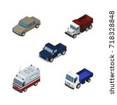 isometric automobile set of... | Shutterstock .eps vector #718328848