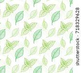 mint leaf vector seamless... | Shutterstock .eps vector #718329628