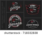 set of classic car logo ... | Shutterstock .eps vector #718332838