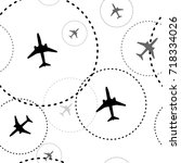 air travel with grunge textured ... | Shutterstock .eps vector #718334026