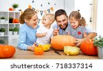 happy family mother father and... | Shutterstock . vector #718337314