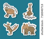 stickers with animals  sheep ... | Shutterstock .eps vector #718340713