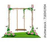 a wooden swing in the garden.... | Shutterstock .eps vector #718341904