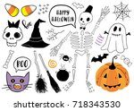 halloween set with pumpkin ... | Shutterstock .eps vector #718343530