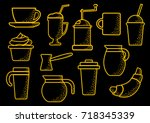 set on coffee theme  yellow... | Shutterstock .eps vector #718345339