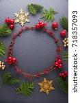 frame with christmas wreath ... | Shutterstock . vector #718357093