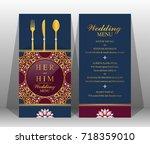indian wedding menu card...   Shutterstock .eps vector #718359010