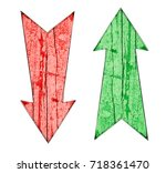 Small photo of Red down and green up vintage wooden direction arrows on cracked and peeling painted wooden isolated on a white background. Concept for pros and cons, for and against and advantages and disadvantages.