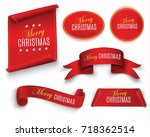 scroll red  merry christmas ... | Shutterstock .eps vector #718362514