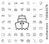 ship front view line icon... | Shutterstock .eps vector #718363378