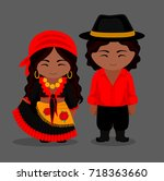 gypsies in traditional costume. ... | Shutterstock .eps vector #718363660