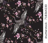 embroidery oriental seamless...   Shutterstock .eps vector #718364230