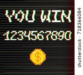 vector 8 bit pixel art style... | Shutterstock .eps vector #718366084