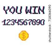 vector 8 bit pixel art style... | Shutterstock .eps vector #718366090