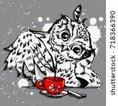 Stock vector cute owl vector owl cartoon bird t shirt design owl grunge background with bird owl hipster 718366390