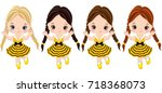 vector cute little girls with... | Shutterstock .eps vector #718368073