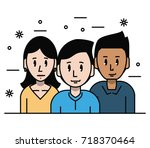 young friends cartoons | Shutterstock .eps vector #718370464