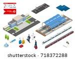 vector isometric set railroad... | Shutterstock .eps vector #718372288