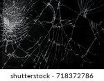 top view cracked broken mobile... | Shutterstock . vector #718372786