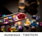 jewel or gems on black shine... | Shutterstock . vector #718374154