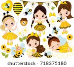 vector set with cute little... | Shutterstock .eps vector #718375180