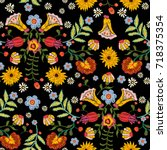embroidery ethnic seamless... | Shutterstock .eps vector #718375354