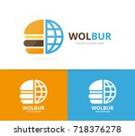 vector burger and planet logo... | Shutterstock .eps vector #718376278