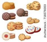 set of 9 delicious cookies.... | Shutterstock .eps vector #718378303