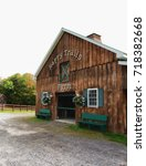 Small photo of Hamilton, New York, USA. September 17, 2017. Happy Trails Farm at The Americana Villlage, a copy of a nineteenth century village, on the western shore of Lake Moraine in Hamilton, New York