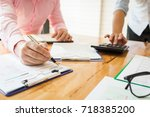 business meetings with...   Shutterstock . vector #718385200