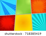 comic book page horizontal...   Shutterstock .eps vector #718385419