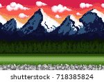 pixel background with mountains ... | Shutterstock .eps vector #718385824